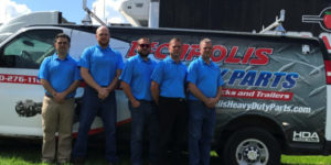 DeCarolis Truck Parts celebrates 80 years. Left to Right: DeCarolis Sales Team - Frank Caputo, Eric Toogood, Pat Howell, Greg Rawleigh and Frank Houtz