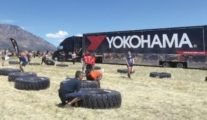 Yokohama sponsors a 'tire flip' contest at the US Spartan Race.
