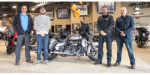Just a month after the Aftermarket Auto Parts Alliance held its 2018 Aftermarket Jackpot Convention held during AAPEX in Las Vegas, Bosch has delivered a new Harley-Davidson Electra Glide Ultra Classic to Lee Anderson of Beloit, Wisconsin, an Auto-Wares customer. Left tonight: Tino Alic, territory sales manager, Bosch; Leon Anderson, Harley-Davidson winner; Dan Rolfsmeyer, territory sales manager, Auto-Wares; Darrell Kamin, general manager, Auto-Wares.