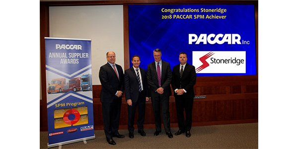 Stoneridge was recently recognized as a PACCAR top performing supplier. Accepting the award, from left to right: Don Schulte, senior director of purchasing, PACCAR; Ron Augustyn, vice president of global purchasing, PACCAR; Jon DeGaynor, president and CEO, Stoneridge; and James Craig, director of purchasing, PACCAR