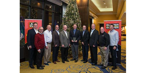 Tenneco was recently named Auto-Wares' 2018 Supplier of the Year. (From left to right) Tim Snyder (Tenneco), Bruce Gumenick (Auto‐Wares), Fred Bunting (Auto‐Wares), Jeff Koviak (Tenneco), Larry Friesner (Tenneco), Chuck Hawkins (Tenneco), Carl Tellier (Tenneco), Bill Johnston (Tenneco), Todd Leimenstoll (Auto‐Wares), John Sanford (Auto‐Wares)