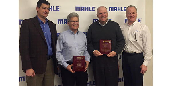 "Brad Johnson, a regional manager for N.A. Williams, was honored with the ""Spirit of Mahle Award"" at the annual Mahle Aftermarket Sales Strategy Meeting held on January 16 in Livonia, Michigan. The award recognizes Mahle's ""Rep of the Year"" for 2018. In addition to Johnson's honor, N.A. Williams was also recognized by Mahle as the manufacturers' representative agency with the highest sales increase in 2018. John Bender, vice president of traditional sales for N.A. Williams and Johnson accepted the award on behalf of N.A. Williams. Left to right: Jon Douglas, president, Mahle; Brad Johnson, regional manager, N.A. Williams; John Bender, vice president of traditional sales, N.A. Williams; and Jim Kahut, vice president of sales, Mahle"
