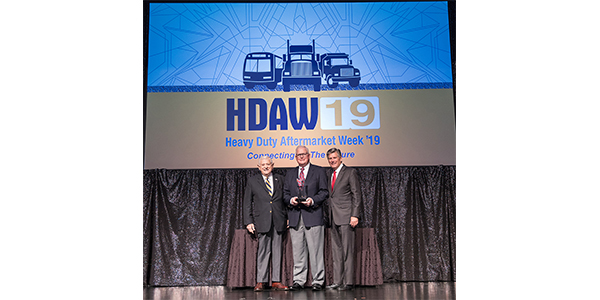 Midwest Wheel President and CEO John Minor was honored as the 11th recipient of the Heavy Duty Aftermarket Industry Hall of Fame Award on Jan. 29, during Heavy Duty Aftermarket Week (HDAW) in Las Vegas.