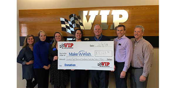 VIP Tires & Service has donated $78K to Make-A-Wish, through its annual Seasons of Wishes fundraiser that involves its customers and its 58 store locations in Maine, New Hampshire, Vermont and Massachusetts. Left to right: Kim Anania, Board Chair, Make-A-Wish Maine; Kate Vickery, Executive Director, Make-A-Wish Maine;  Sarah Rulman, Make-A-Wish Maine; Mary Daigle, VIP's Office Manager; John Quirk, VIP's Chairman and CEO; Tim Winkeler, VIP's President & COO; Gary MacCausland, VIPs' Vice President of Operations.