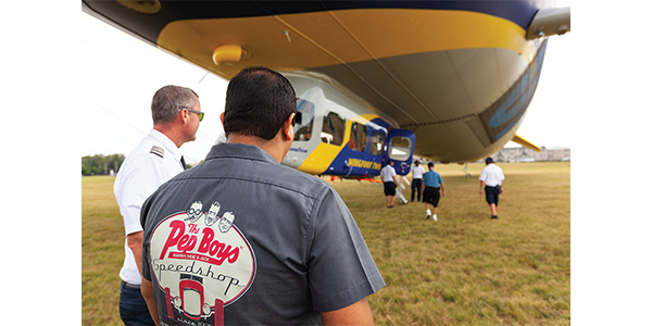 Haris-Ali Choudhry, a Pep Boys employee, is met by the Goodyear Blimp team and invited onboard.
