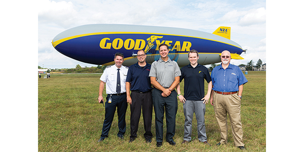 Ryan Clarke, Ian Smit, Mark Sawicki, Karl Wicks, and Chuck White enjoyed a fun day together in Philadelphia and took to the skies for a ride in the Goodyear Blimp during a Pep Boys event.