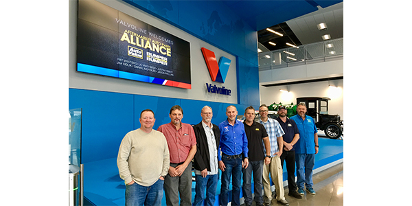 Valvoline hosted Auto Value and Bumper to Bumper's eight-man Service Center Advisory Council for its semiannual four-day meeting in Lexington, Ky., Oct. 8-11.  From left to right: Joe Miles (Kaiser Tire & Auto Service); Rodney Pickering (R P Automotive Inc.); Joe Sharp (Joe's Garage); Bill Nalu (Interstate Auto Care); Dave Jackson (60 Minute Tune); Kam Butcher (Lynn Wood Service Center); Fred White (Miles Auto Service); Kevin Robertson (Robertson Automotive).  Reply
