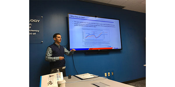 Valvoline Brand Manager Michael Morrison discussed the company's product and program elements at Auto Value and Bumper to Bumper's biannual Service Center Advisory Council in Lexington, Ky., Oct. 8-11, 2019.
