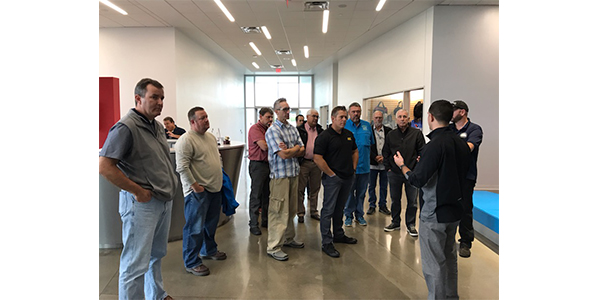 Valvoline Brand Manager Michael Morrison led a tour of Valvoline's V-shaped headquarters during Auto Value and Bumper to Bumper's biannual Service Center Advisory Council in Lexington, Ky., Oct. 8-11, 2019.