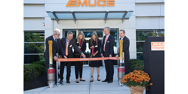 Emuge held a grand opening ceremony of its significantly expanded, custom-designed manufacturing facility on Oct. 15. Formal ribbon cutting (from left to right): Thomas Zeus, EMUGE-Franken technical director; Thomas Pompe, EMUGE-Franken board member; Connie Pompe, EMUGE-Franken shareholder; Gerhard Knienieder, EMUGE-Franken managing director; Bob Hellinger, EMUGE Corp. president