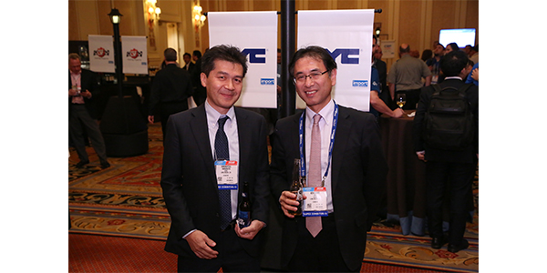 Representatives from DENSO Corp. at one of AAPEX's international receptions