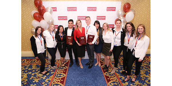 Award winners gather to celebrate at the Women in Auto Care reception where the Automotive Communication Awards were presented.
