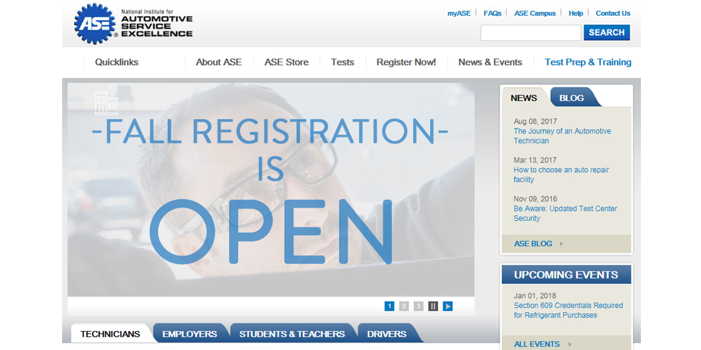 Service Pros Can Schedule Certification Tests Now At myASE.com